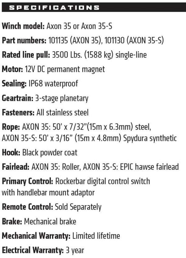 Warn Winch AXON 35 Rican ATV Quad bike accessories Yorkshire